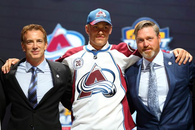 SUNRISE, FL - JUNE 26:  Mikko Rantanen poses after being selected tenth overall by the Colorado Avalanche in the first round of the 2015 NHL Draft at BB&T Center on June 26, 2015 in Sunrise, Florida.  (Photo by Bruce Bennett/Getty Images)