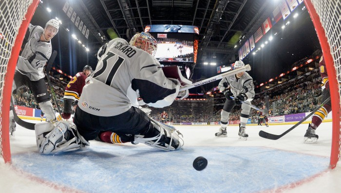 San Antonio Rampage goaltender Calvin Pickard watches as the puck sails into the net during the third period of AHL hockey game against the Chicago Wolves, Friday, Nov. 6, 2015, in San Antonio. Chicago won 4-3 in overtime. (Darren Abate/AHL)